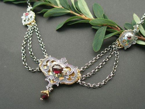 Trachtencollier Emma silber mit Gold Details und Granat