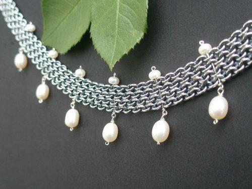 Silberkette Bismarck mit Perlen