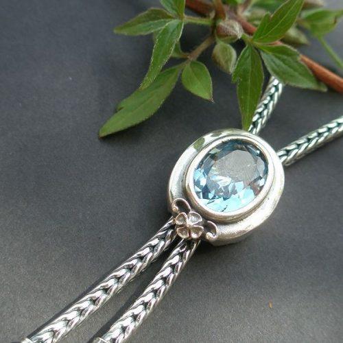 Silberkette Christa mit blauem Spinell