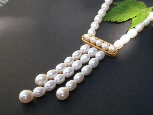 Perlenkette Lea mit Gold Detail