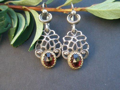 Silber Trachten Ohrringe Brigitte mit Gold Detail