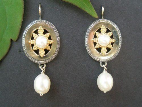 Trachten Ohrschmuck Stern Gold mit Perlen
