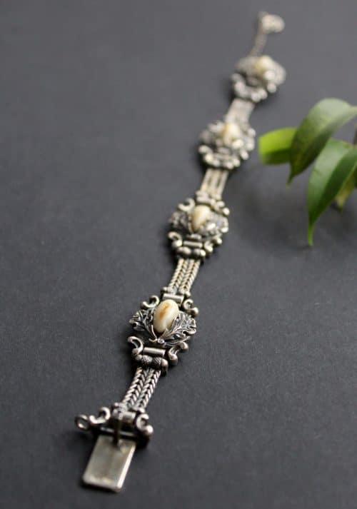 Jagdschmuck Grandelschmuck Armband in Silber mit Eichenlaubzier
