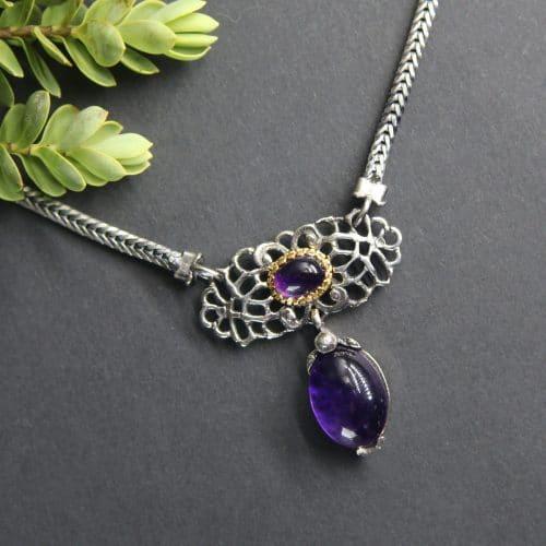 Trachtenkette Damen: Silberkette mit Amethyst