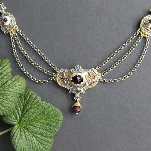 Trachtenschmuck Verhangcollier in Silber und Silber-vergoldet