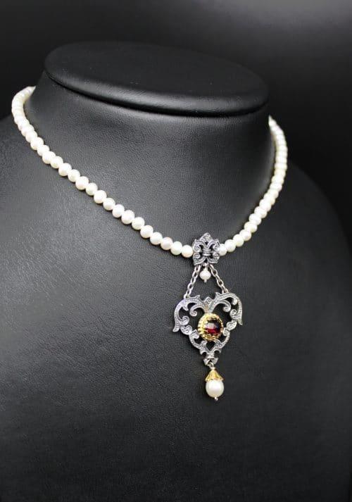 Trachtenkette Perlenkette mit Herz