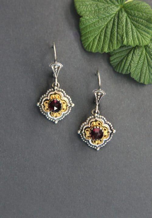 Trachtenschmuck Ohrringe kaufen: schöne Ohrringe zum Dirndl in Silber mit Granat