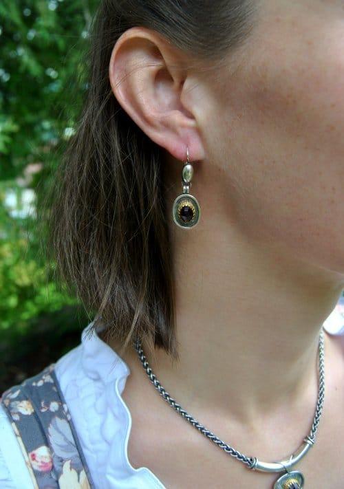 Trachtenschmuck Silber Ohrringe mit Granat