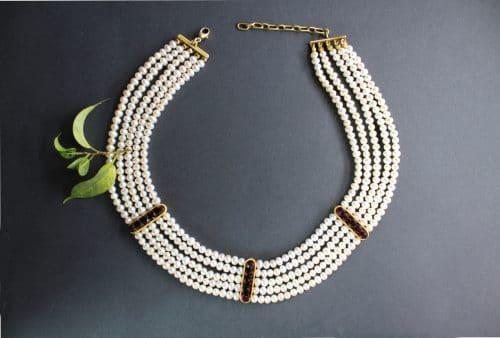 Perlencollier für Trachtenhochzeit - Trachtenschmuck Collier Isadora