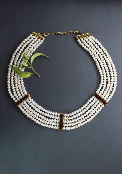 Trachtenschmuck für Hochzeit: 5 reihiges Perlencollier mit Granat