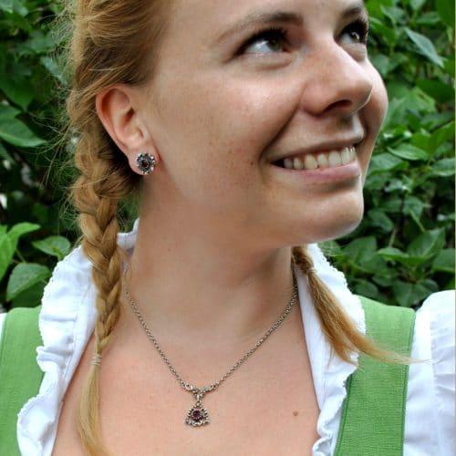 Trachtenkette und Ohrringe in Silber mit Granat zum Dirndl