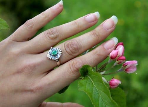 Silberring mit Smaragd zum Dirndl