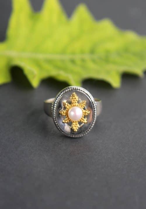 Trachtenschmuck mit Perle: Silberring Stern