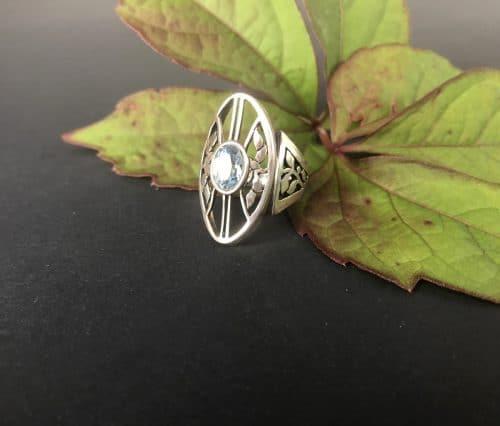 Silberring Lebensbaum mit blauem Spinell