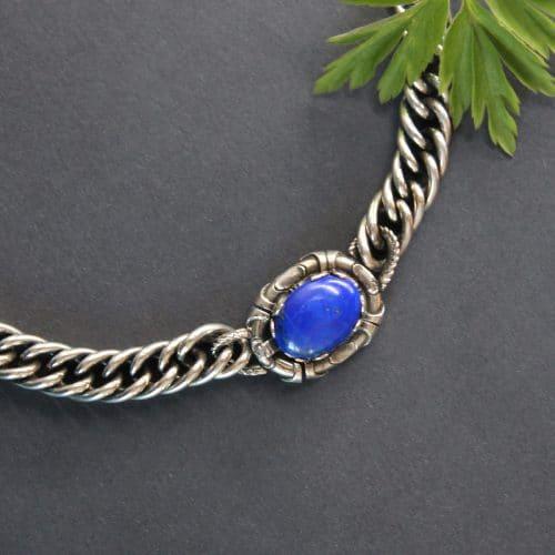 Hochwertige, große Trachtenschmuck Halskette in Silber mit Lapis