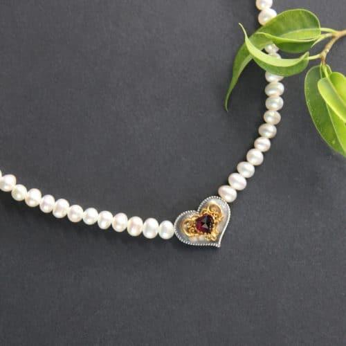 Trachten Perlenkette Herz Filigran