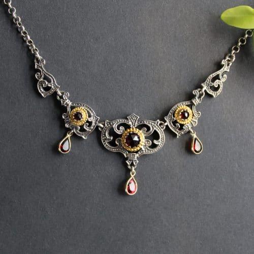 Trachtenkette Silber, Silvia mit Granat