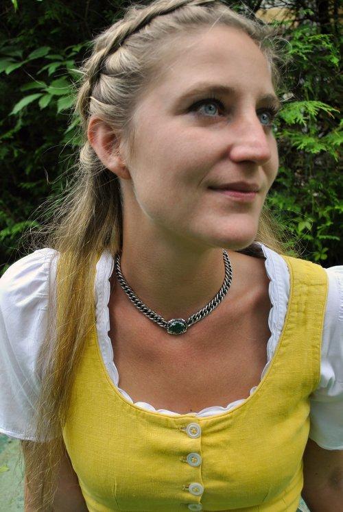 Trachtenschmuck Trachtenkette aus Silber mit Malachit