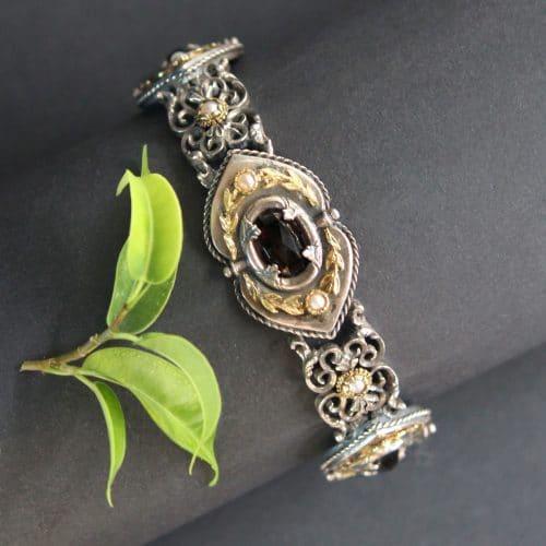 Trachtenschmuck Granat Armband Lorbeer