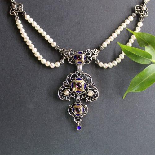 Trachtenschmuck Perlenkette Ida - Verhangcollier, sehr detailreich
