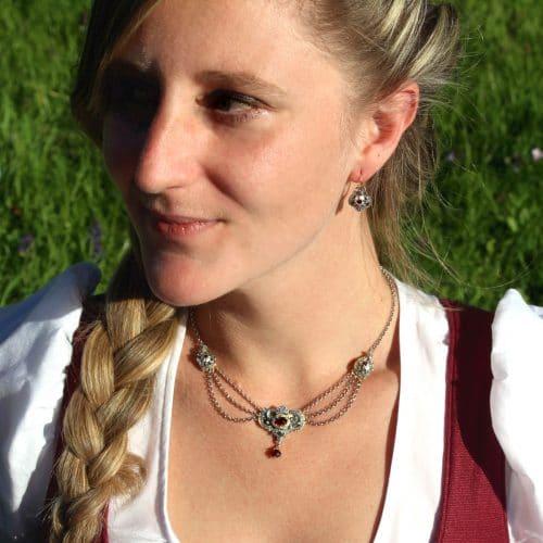 Dirndlschmuck Set Emma: Collier und Ohrringe mit Granat