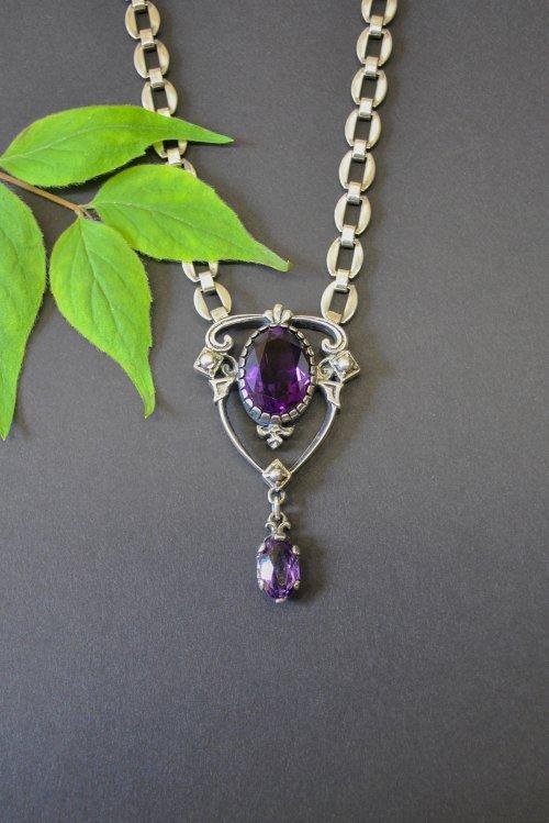 Glänzende Silberkette mit Amethyst