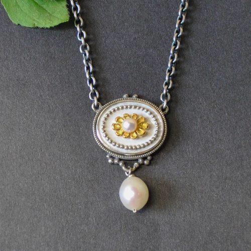 Trachtenschmuck Silberkette weiß