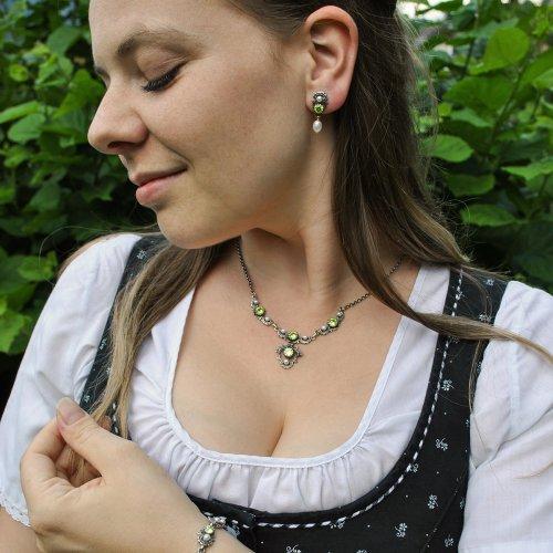 Trachtenschmuck Set Jutta aus Silber und grüner Zirkonia