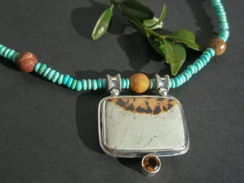 Silbercollier mit Landschaftsachat Zitrin Steinen und Türkis