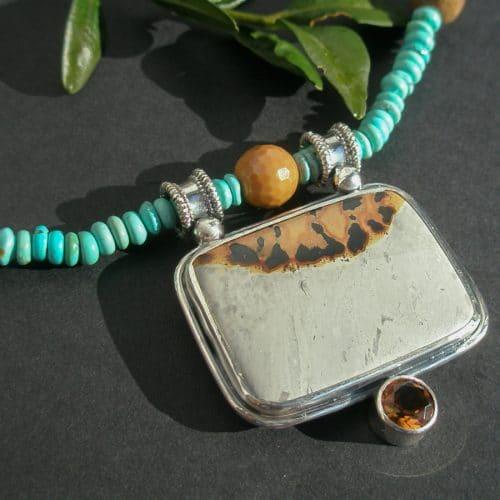 Collier aus Silber mit Landschaftsacht Zitrin und Türkis