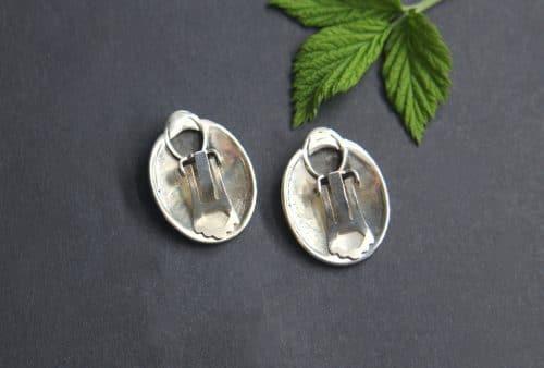 Trachtenschmuck Ohrclips in Silber mit rundem Stein Lapis, Schneckenmotiv
