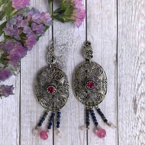 Ohrringe Silber filigrane Muster mit Lapis und rosa Quarz