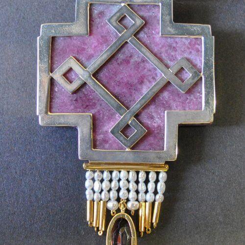 Unikat Anhänger Rubin Zoisit Kreuz