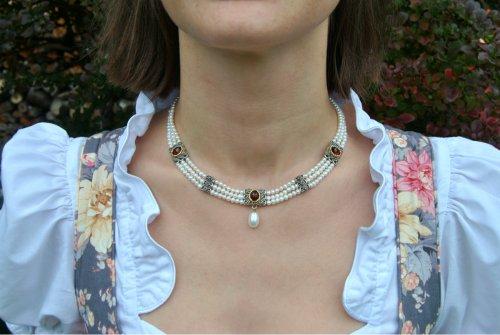 Trachtenschmuck Hochzeit 3 reihiges Perlencollier mit Granat