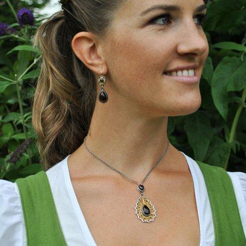 """Trachtenschmuck Set für Damen """"Fiona"""" aus Silber mit Granat und vergoldeten Details"""