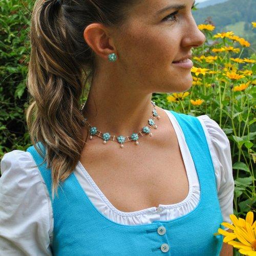 Vollcollier mit türkisen Feueremail Blumen verziert mit Perlen. Schmuck zum Dirndl