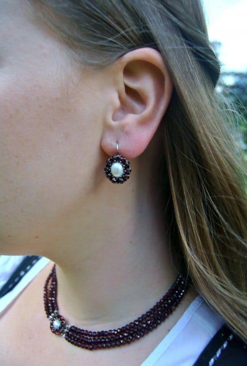 Ohrringe Granat mit Perle