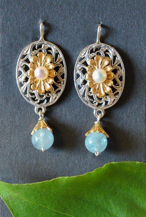 Ohrringe Silber mit Aquamarin und Perle