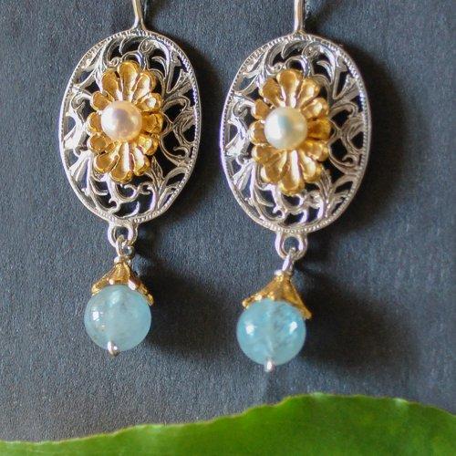 Silber Ohrringe mit Blumenmotiv und Stein aus Aquamarin
