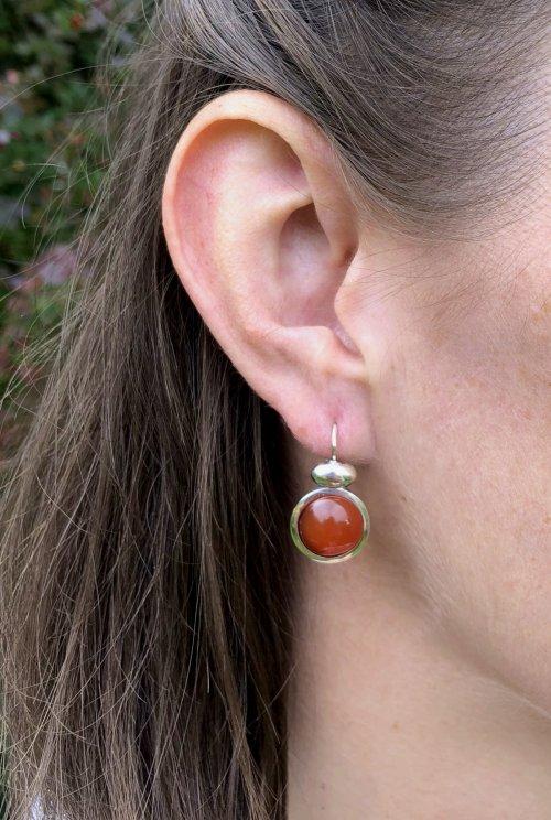 Ohrringe aus Silber Farbe Orange (Karneol)