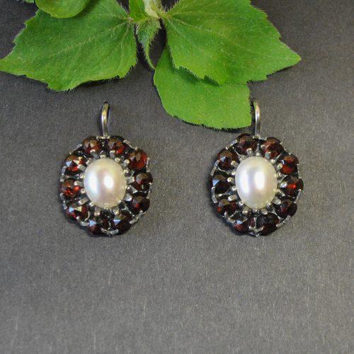 Ohrringe Granat mit Perle im Online Shop
