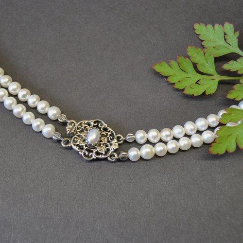 Perlencollier mit filigraner Schließe aus Silber in Handarbeit