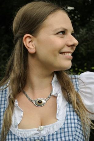Dirndlschmuck Silberkette mit Granat