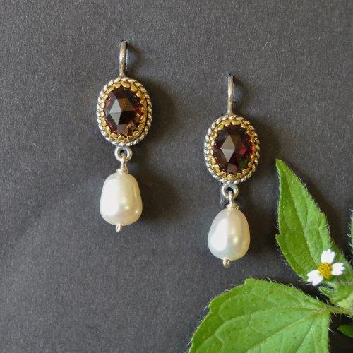 Trachtenschmuck Ohrringe aus Silber mit vergoldeten Details