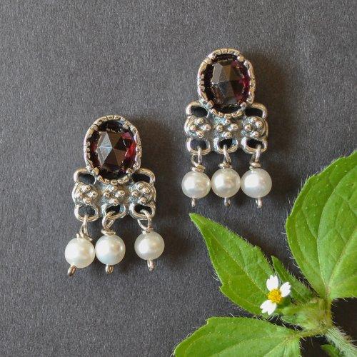 Trachtenohrringe Silber mit Granat und Perlen