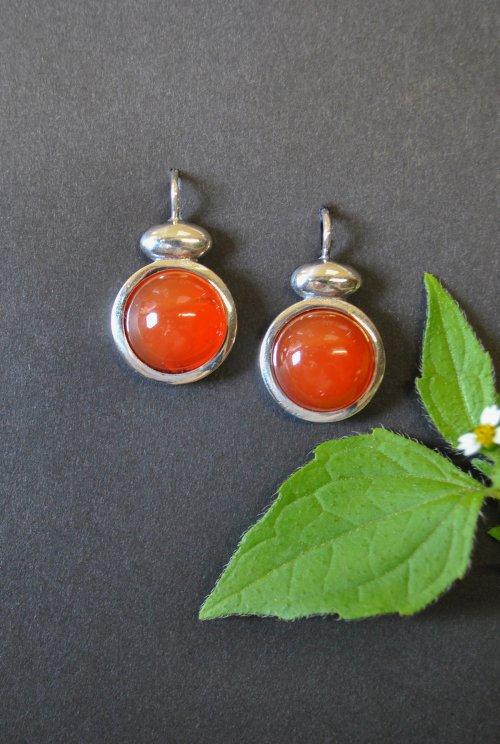 Silberohrringe klein Farbe Orange (Karneol)