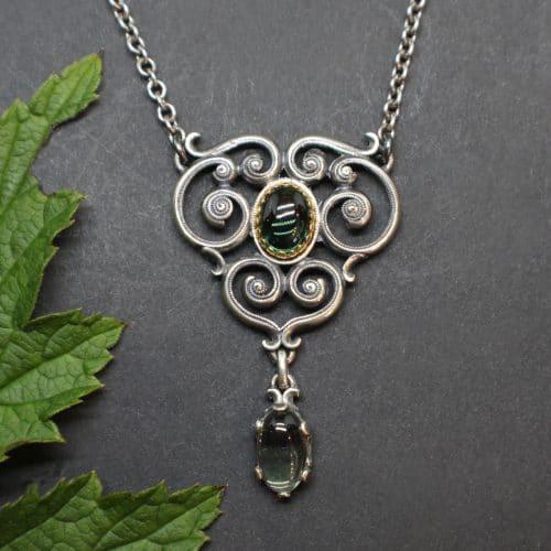 Moderne Trachtenschmuck Halskette mit synthetischem Turmalin, grüner Schmuckstein