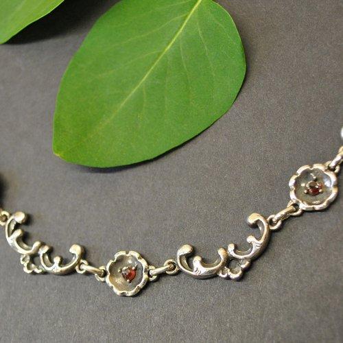 Trachtenschmuck Silber Halskette mit Granat