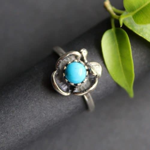 Dirndlschmuck Ring Lilli in Silber und Stein Türkis
