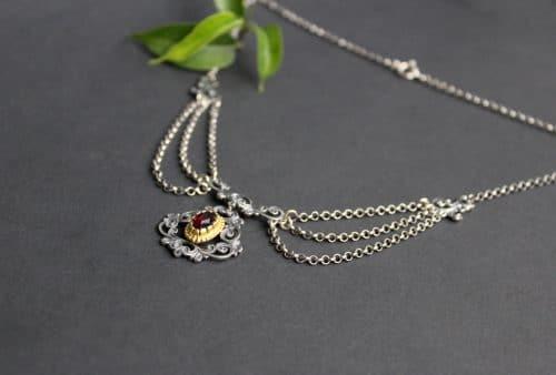 Trachtenschmuck Trachtenkette Eva, seitliche Ansicht der Silberkette